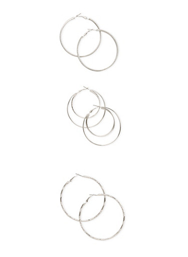 Set of 3 Layered Glitter and Bamboo Hoop Earrings,SILVER,large
