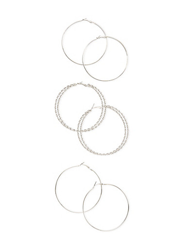Set of 3 Hoop Earrings with Glitter Finishes,SILVER,large
