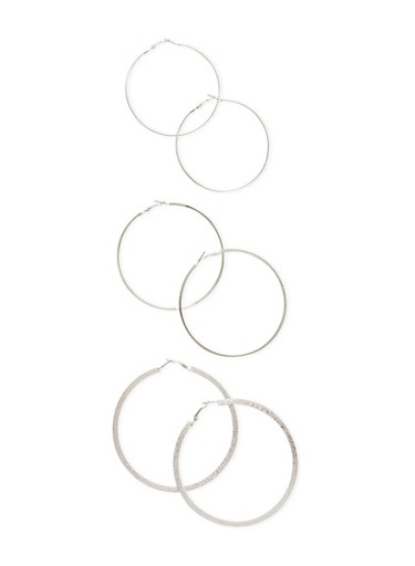 Set of 3 Etched Twist and Solid Hoop Earrings,SILVER,large