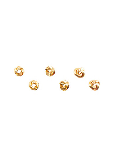 Set of 3 Knot Stud Earrings with Assorted Etchings,GOLD,large