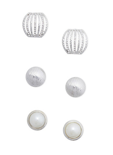 Set of 3 Assorted Stud Earrings,SILVER,large