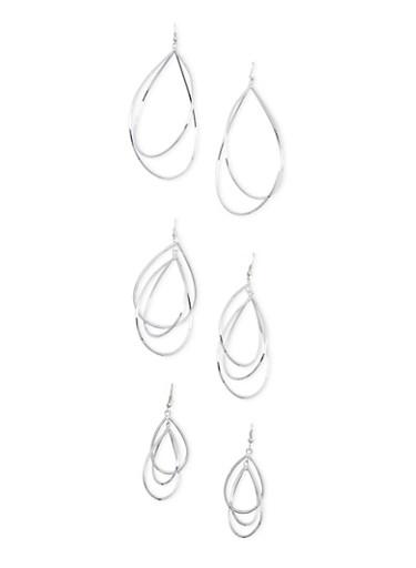 Set of 3 Sculptural Drop Earrings,SILVER,large