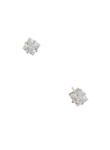 Square Cubic Zirconia Stud Earrings,SILVER,large