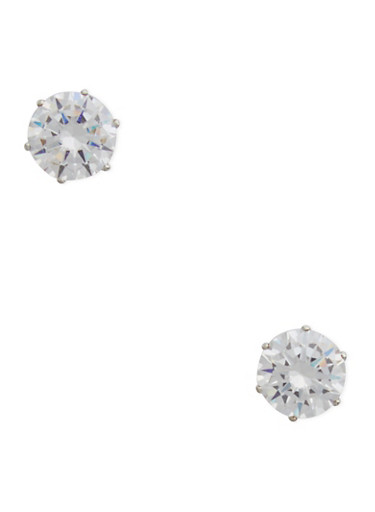 Round Cubic Zirconia Stud Earrings,SILVER,large