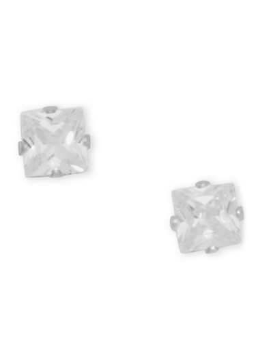 Square Rhinestone Stud Earrings with Push Back Closure,SILVER,large