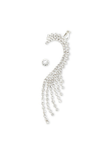 Stud Earring and Ear Cuff Set,SILVER,large
