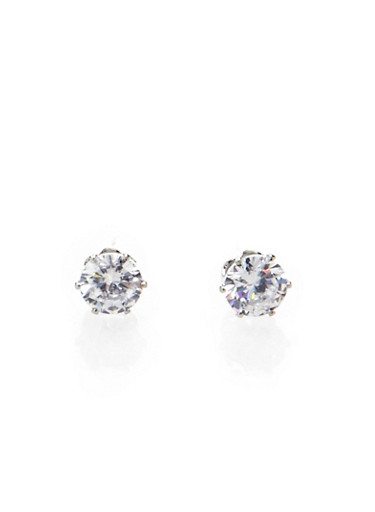 Faceted Cubic Zirconia Studs,SILVER,large