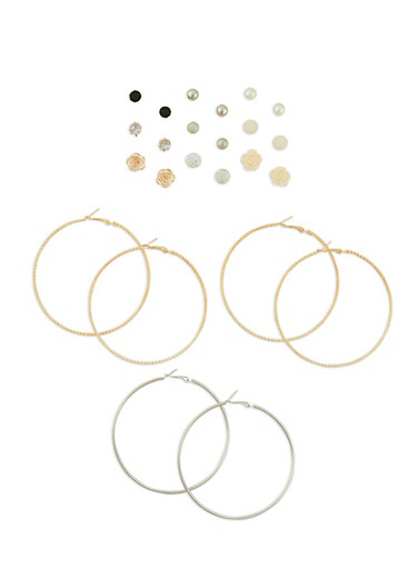 12 Piece Assorted Earrings Set,TRITONE (GOLD/SLV/JET),large