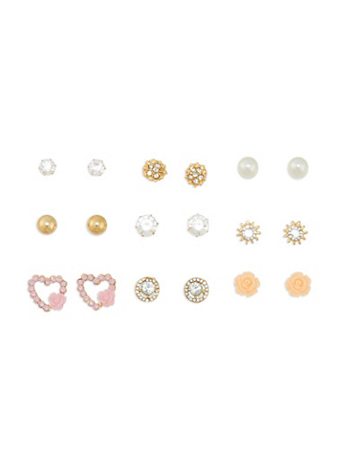 Assorted 9 Piece Stud Earrings Set,GOLD,large