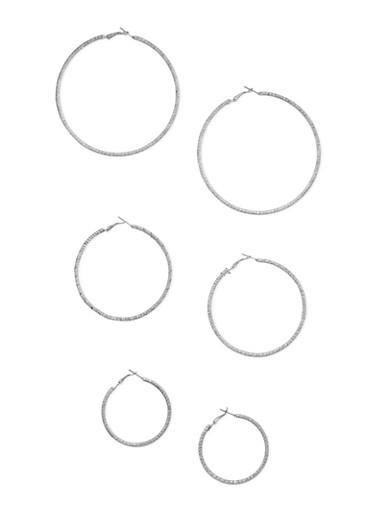 3 Multi Size Hoop Earrings Set,SILVER,large