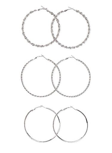 Set of 3 Assorted Hoop Earrings,SILVER,large