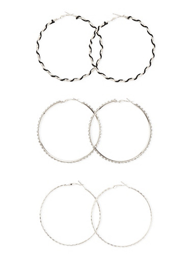 Set of 3 Assorted Hoop Earrings,SILVER,large