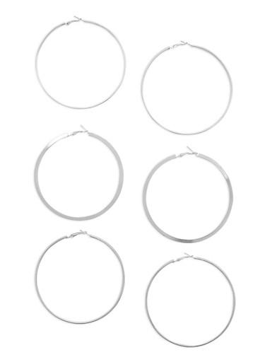 Flat Metallic Hoop Earrings Set of 3,SILVER,large