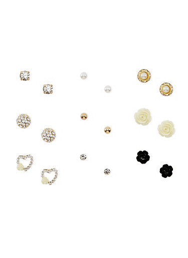 Set of 9 Assorted Stud Earrings,WHITE,large