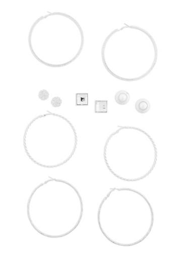 Set of 6 Assorted Hoop and Stud Earrings Set,SILVER,large