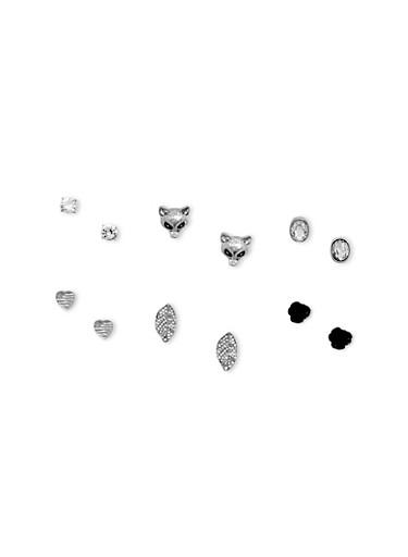 6 Stud Earrings Set,SILVER,large