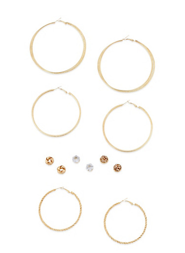 6 Assorted Hoop and Stud Earrings Set,GOLD,large