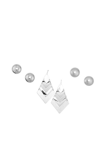 Trio Dome Triangle Earring Set,SILVER,large