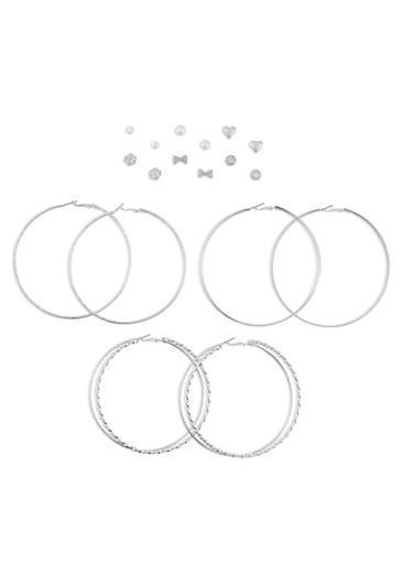 Assorted 9 Piece Textured Earring Set,SILVER,large