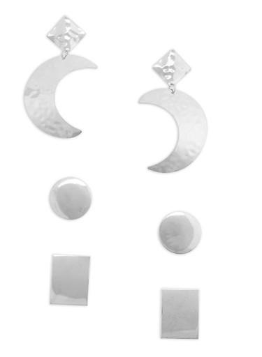 Geometric Earrings Set of 3,SILVER,large