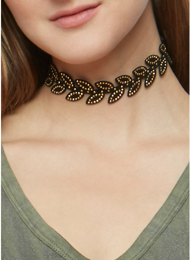 Set of 9 Assorted Chokers and Stud Earrings,LEOPARD PRINT,large