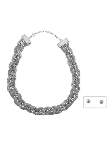 Braided Mesh Necklace and Stud Earrings Set,SILVER,large