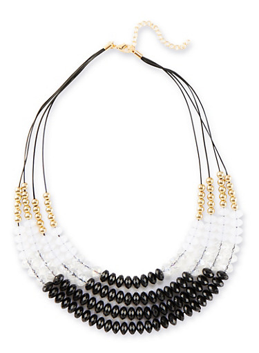 Tiered Beaded Necklace,JET,large