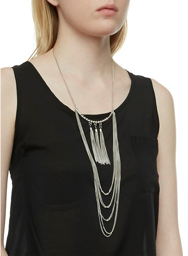 Tassel Earrings and Necklace Set,SILVER,large