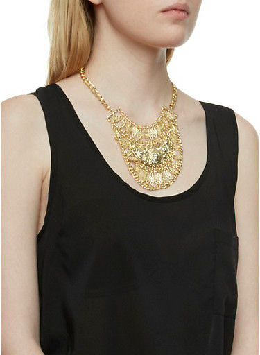 Bib Necklace with Cubic Zirconia Stud Earrings Set,GOLD,large