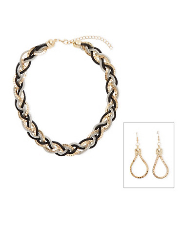 Box Chain Drop Earrings and Braided Necklace Set,SILVER,large