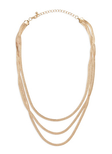 3 Row Flat Necklace,GOLD,large