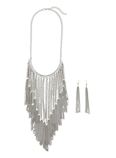 Metallic Fringe Necklace and Drop Earrings Set,SILVER,large