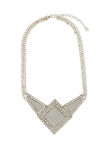 Geo Glitter and Rhinestone Necklace,SILVER,large
