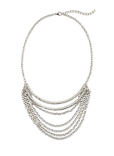 Textural Necklace with Tiered Chain Accents,SILVER,large