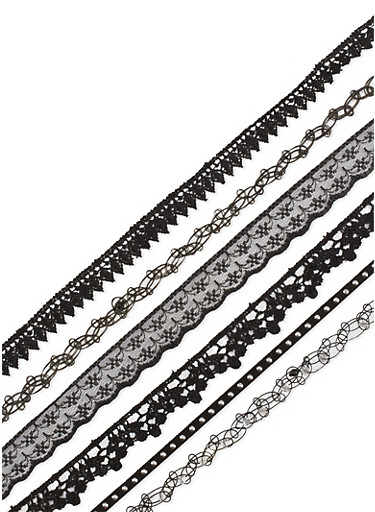 Set of 6 Assorted Tattoo and Lace Chokers,BLACK,large