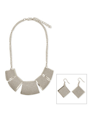 Glitter Necklace and Earring Set,SILVER,large