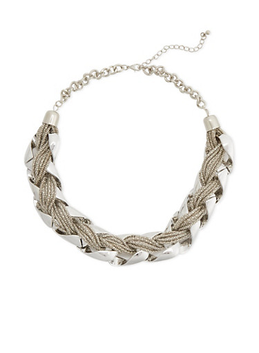 Chain Necklace with Woven Chain Detailing,SILVER,large