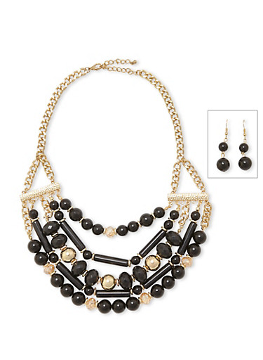 Multi Layer Beaded Necklace and Earrings Set,BLACK,large