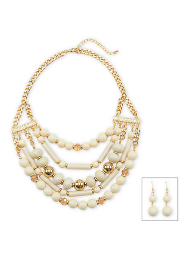 Multi Layer Beaded Necklace and Earrings Set,IVORY,large