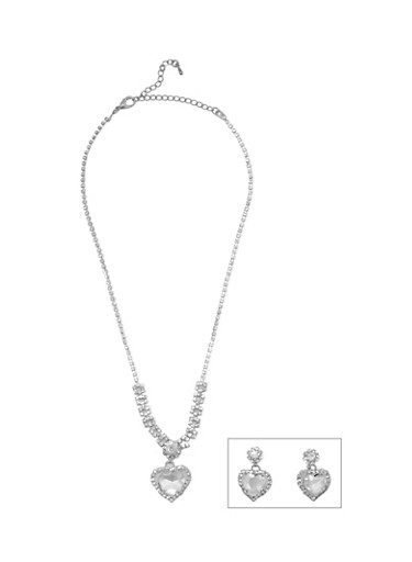 Rhinestone Heart Necklace and Earrings Set,SILVER,large