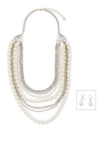 Layered Faux Pearl and Chain Statement Necklace with Drop Earrings,SILVER,large