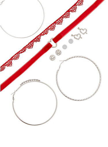 Set of 8 Crochet and Velvet Chokers with Assorted Earrings,SILVER,large