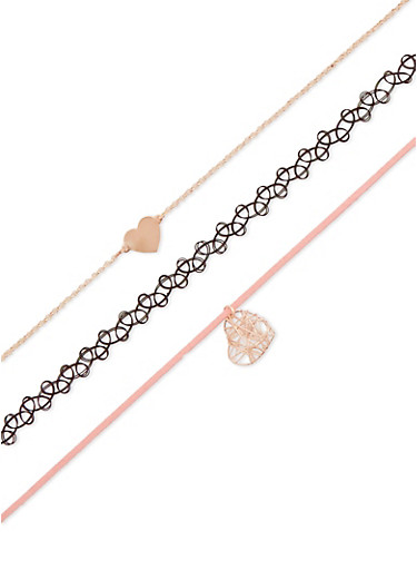 Assorted Tattoo and Heart Charm Choker Trio,GOLD,large