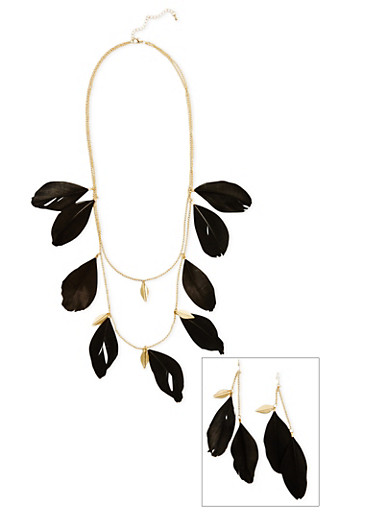 Feather Necklace and Earrings,BLACK,large