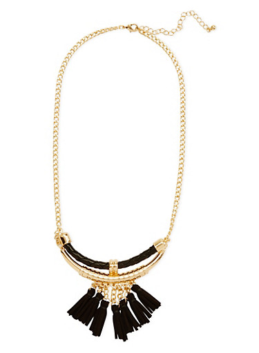 Tribal Necklace with Faux Leather Tassels,BLACK,large
