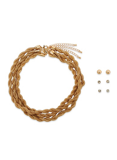 Trio of Metal Mesh Tube Necklaces and Stud Earrings,GOLD,large