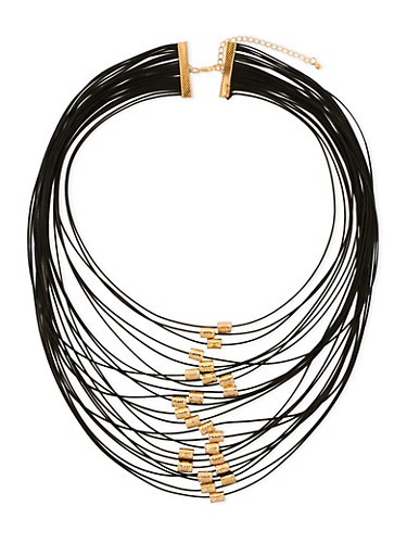 Multi Layer Necklace with Metallic Tube Beads,BLACK,large