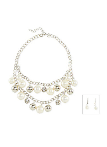 Tiered Faux Pearl Necklace and Drop Earrings Set,SILVER,large