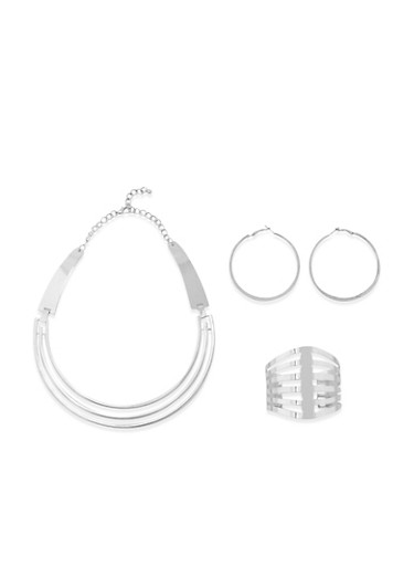 Cuff Necklace with Cuff Bracelet and Hoop Earrings Set,SILVER,large