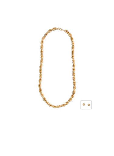 Rope Chain Necklace with Stud Earrings Set,GOLD,large